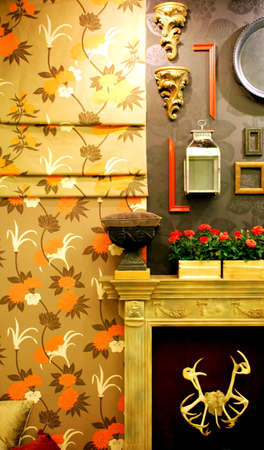 The wall and fireplace with decoraton  Stock Photo - 4165419