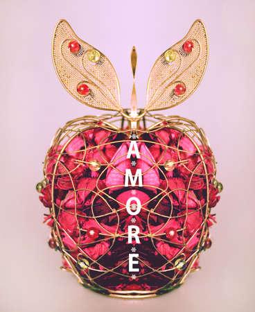 amore: Valentine Amore apple Stock Photo
