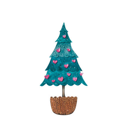 Watercolor Christmas tree in pot, isolated on white