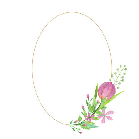Watercolor easter wreath, frame with tree branches, leaves Banque d'images
