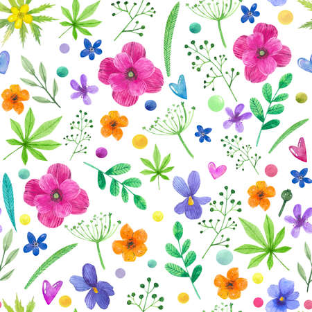 Watercolor seamless pattern with hand-drawn poppies, daisies flowers, wild plants. Watercolor summer background with flowers, hearts, herbs and leaves