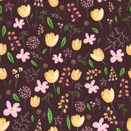 Seamless pattern with spring flowers on black background