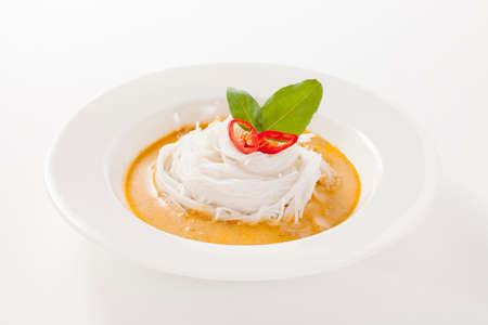 Thai vermicelli eaten with curry isolated in white background