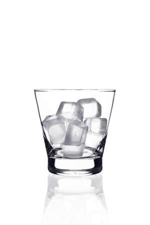 Glass with ice cubes on white background Stok Fotoğraf