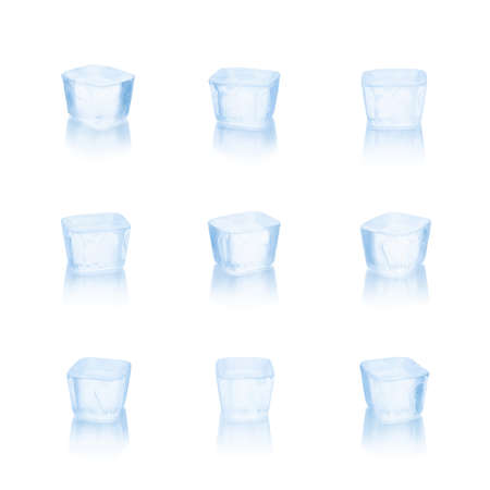 Set of cubes of ice on a white background. With clipping path