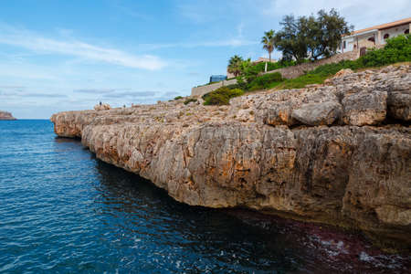 Mallorca Cliff. Big rocky mountains with house on top