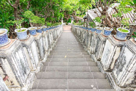 Stairs down the mountain Phetchaburi Province in Thailand  photo