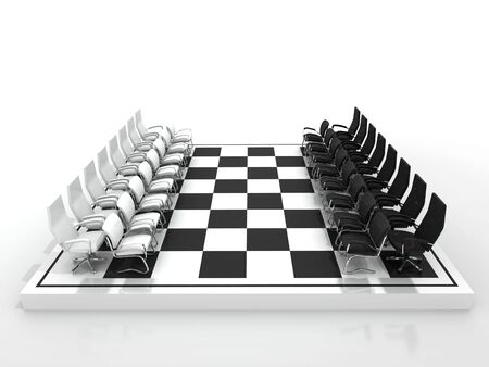 chairs chessboard isolated on white background photo