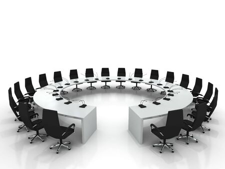 whiteboard: conference table and chairs with microphones isolated on white background