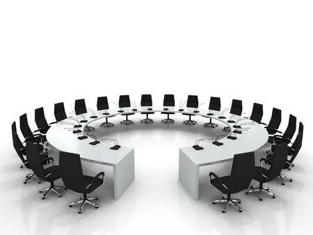 conferentie: conferentie tafel en stoelen met microfoons geïsoleerd op witte achtergrond