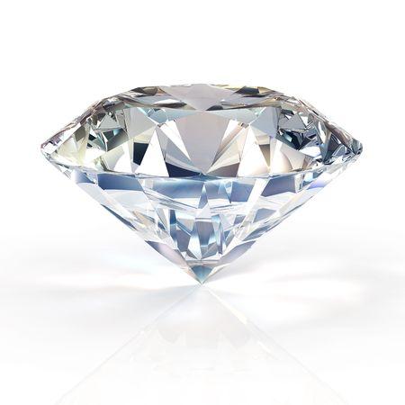 round brilliant: Diamante aislados sobre fondo blanco - 3d de procesamiento  Foto de archivo