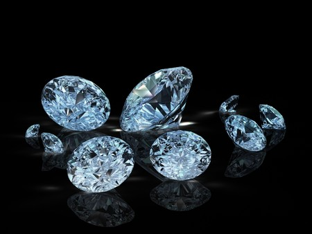 group of nine diamonds on black background