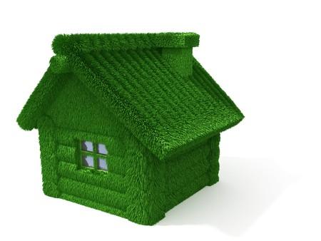 Haus aus Protokolle mit gras isoliert auf weißem Hintergrund