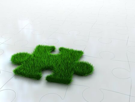 jigsaw puzzle with green grass