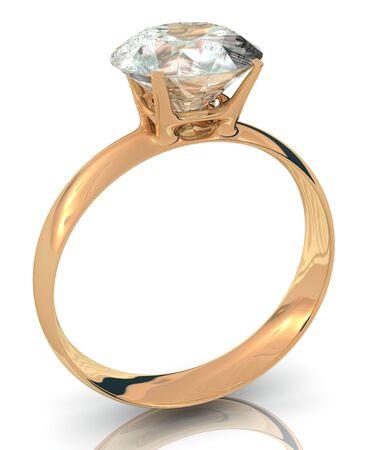 anillo de boda: anillo de bodas de oro con diamantes grandes aislados sobre fondo blanco  Foto de archivo