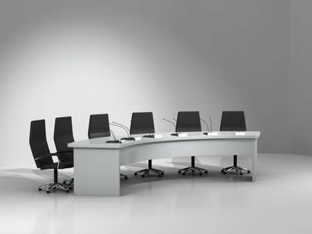 collegial: conference table and chairs with microphones isolated on white background