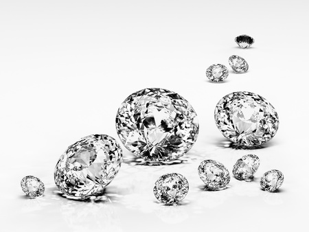 crystal: Diamond jewel isolated on white background. Beautiful sparkling diamond on a light reflective surface. High quality 3d render with HDRI lighting and ray traced textures. Stock Photo