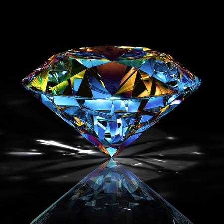round brilliant: Diamante sobre fondo negro Foto de archivo