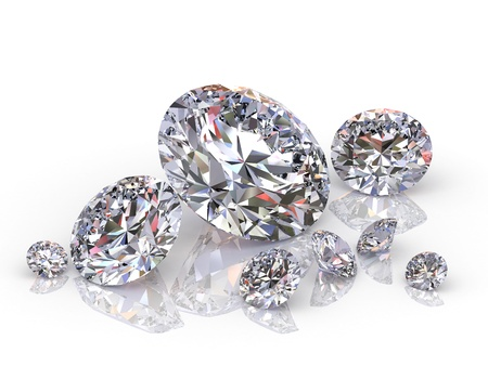 scintillation: group of diamonds isolated on white background. Stock Photo