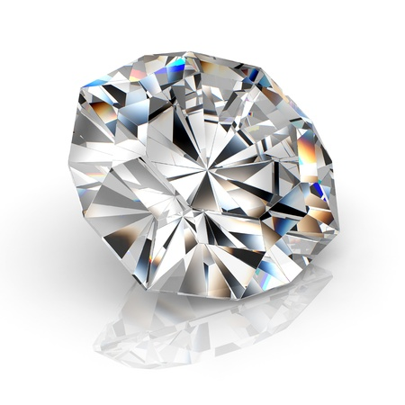 diamond isolated on white background - 3d render Stock Photo - 8528872