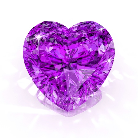heart of stone: diamond heart shape purple isolated on white background - 3d render. Stock Photo