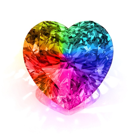 rainbow diamond heart shape blue isolated on white background - 3d render.