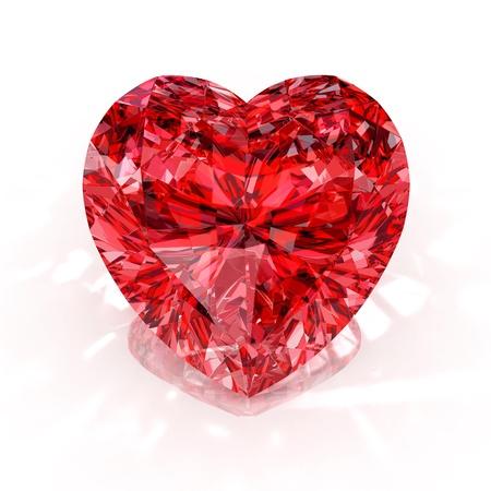 coeur diamant: Heart shape diamond isol� sur fond blanc - 3d render.