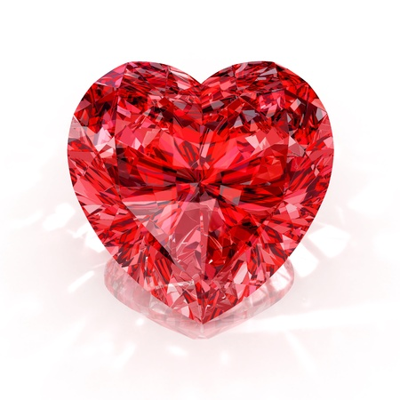 heart of stone: heart shape diamond isolated on white background - 3d render.