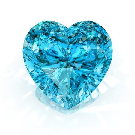 scintillate: forma de coraz�n de diamante azul hab�a aislado sobre fondo blanco - 3d de procesamiento.