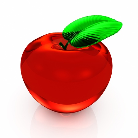 apple red isolated on white background -  3d render photo