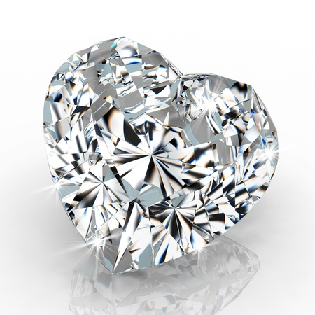 diamond stones: diamond heart shape isolated on white background - 3d render Stock Photo