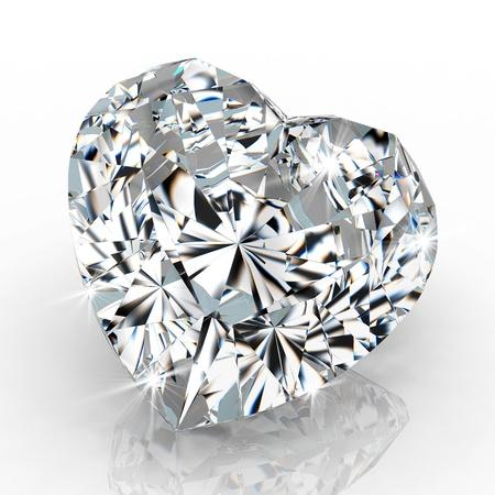 scintillate: forma de coraz�n de diamante aislados en fondo blanco - 3d de procesamiento Foto de archivo