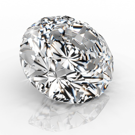 scintillation: diamond isolated on white background - 3d render.
