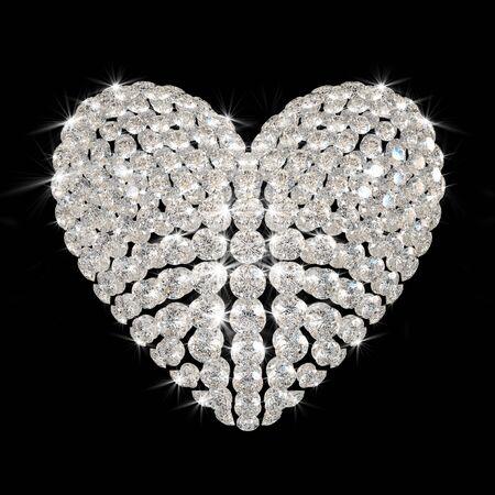 scintillate: coraz�n de Diamond hab�a aislado sobre fondo negro - 3d de procesamiento.