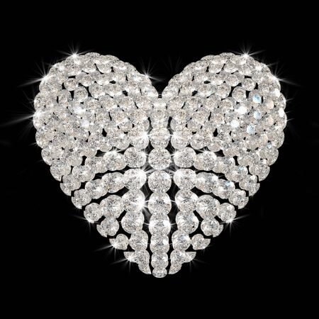 scintillation: diamonds heart isolated on black background - 3d render. Stock Photo