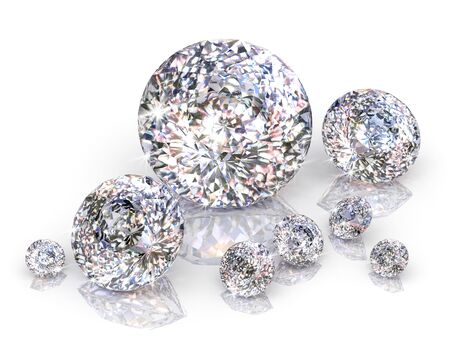 scintillate: diamantes aislados sobre fondo blanco.
