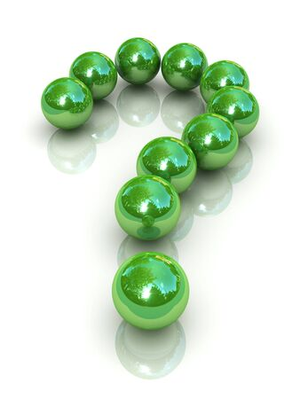 question mark of green balls isolated on white background Stock Photo - 8528867