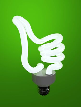 super bulb concept energy saving fluorescent isolated on green background. 免版税图像