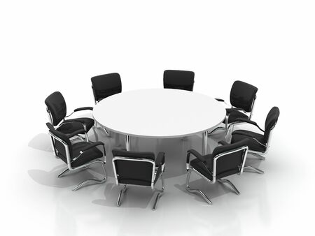 conference table and chairs isolated on white background Stock Photo - 8548215