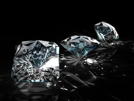 black diamond: diamantes - �ngulo diferente de una forma aislada sobre fondo negro Foto de archivo