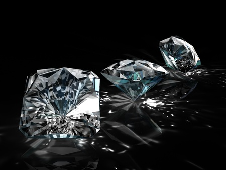 scintillation: diamonds - one shape different angle isolated on black background Stock Photo