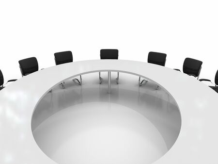 round chairs: conference table and chairs isolated on white background Stock Photo