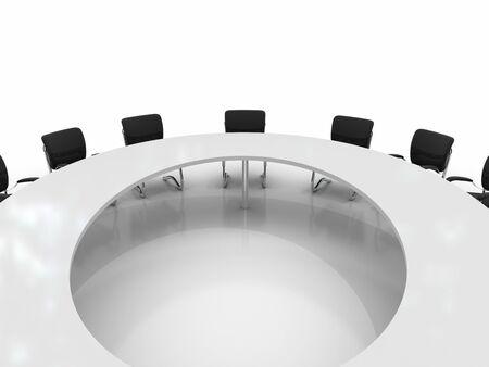 conferentietafel en stoelen geïsoleerd op witte achtergrond Stockfoto