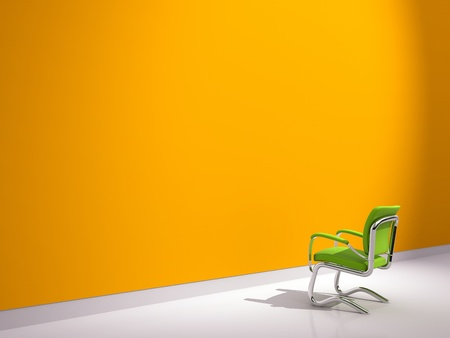 green chair near orange wall photo