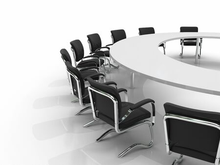 conference table and chairs isolated on white background photo