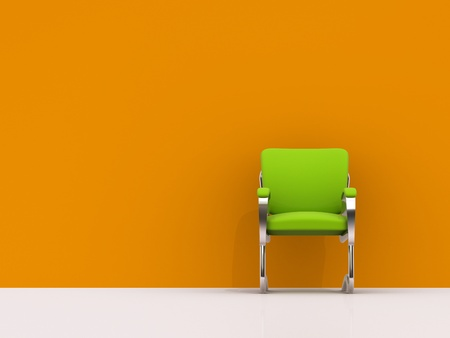office chair: green chair near orange wall