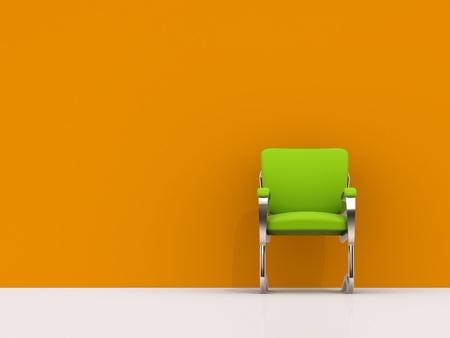 empty office: green chair near orange wall