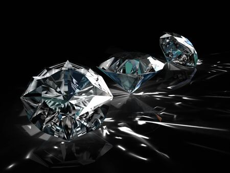 diamonds - one shape differant angle isolated on black background photo