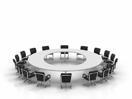 conference table and chairs isolated on white background Stock Photo