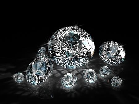 diamonds group isolated on black background